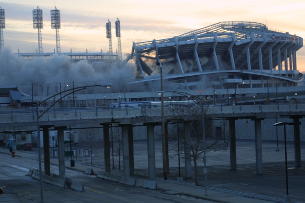 The destruction of this stadium created a lot of dust.  That's not what's meant with this challenge.  (Photo is in public domain.)