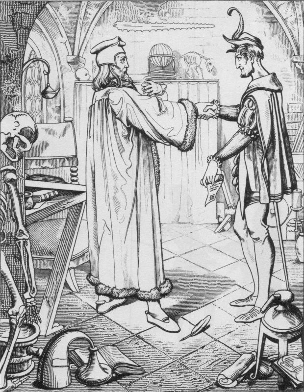 The eternal spirit of negation.  (The image, drawn by Julius Nisle, is in the public domain.)