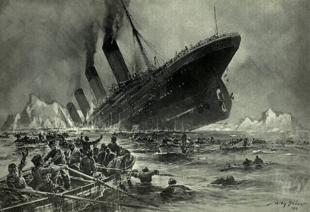 The Titanic's destruction created a legend.  Would we have created so many stories if the voyage had succeeded?  (Image is in the public domain.)